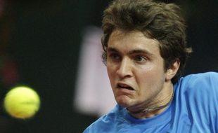 Gilles Simon lors de sa défaite face à Tomas Berdych lors de la rencontre de Coupe Davis le 6 mars 2009.