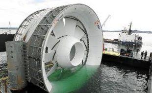 L'une des quatre hydroliennes du parc EDF construites par DCNS.