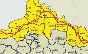 Le parcours du train de déchets nucléaires qui doit partir vendredi 5 novembre de La Hague