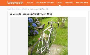 Le vélo Reynolds ayant appartenu à Jacques Anquetil a été mis en vente le 22 juillet 2016 sur Le Bon Coin