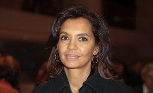L'animatrice Karine Le Marchand arrive au dîner du CRIF au Carrousel du musée de Louvres en février 2019.