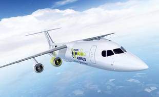 L'avion hybride E-Fan X, muni d'un ou deux réacteurs électriques, annoncé par Airbus.