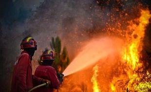 Des pompiers tentent de venir à bout des feux de forêts du Portugal, en 2013.