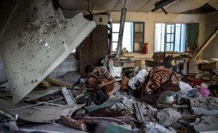 Une salle de classe de l'école de l'ONU frappée par un bombardement le 30 juillet 2014 à Gaza