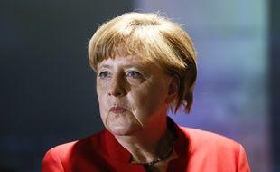 La chancelière allemande Angela Merkel, lors de l'ouverture de l'exposition Europa Experience  à la Maison européenne de Berlin, le 12 mai 2016.