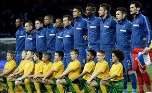 L'équipe de France de football avant un match amical contre l'Australie, le 11octobre 2013, au Parc des Princes.
