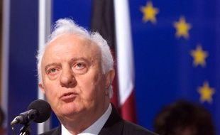 Strasbourg, 27 avril 1999. Edouard Chevarnadzé, le président de la Géorgie, devant le Conseil de l'Europe.