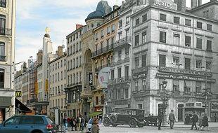 La rue de la République d'aujourd'hui et d'hier, selon le montage réalisé sur le site Rétro Lyon.
