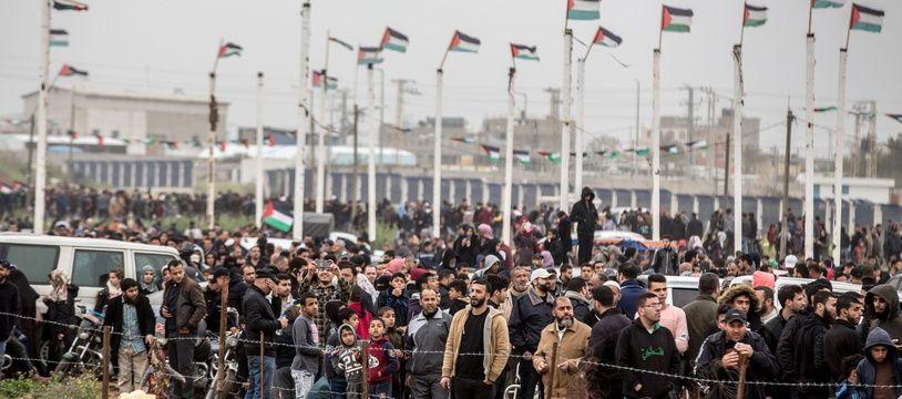 Des dizaines de milliers de Gazaouis ont convergé samedi 30 mars 2019 vers la frontière israélienne à l'occasion de la «grande marche du retour».