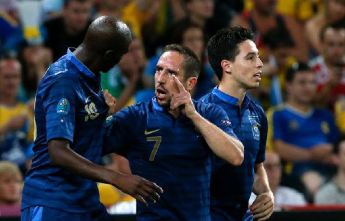 Alou Diarra, Frank Ribéry et Samir Nasri lors de la victoire 2-0 de l'équipe de France contre l'Ukraine, le 15 juin 2012. – A.BIANCHI/20MINUTES