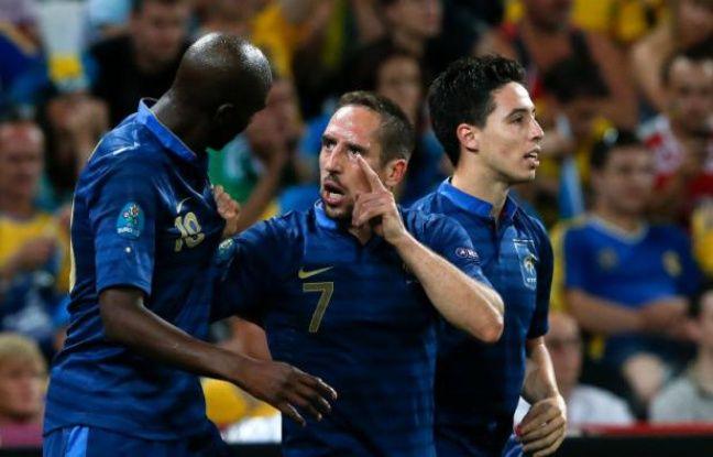 Alou Diarra, Frank Ribéry et Samir Nasri lors de la victoire 2-0 de l'équipe de France contre l'Ukraine, le 15 juin 2012.
