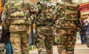 Des militaires patrouillant à Lyon (illustration), à la suite des attentats de Paris.