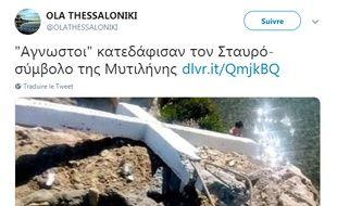 La photo à l'origine de la polémique sur la croix détruite à Lesbos.