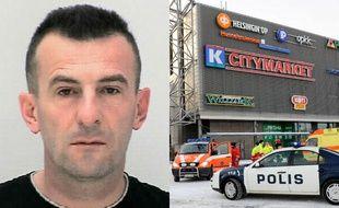Ibrahim Shkupolli (G), 43 ans, est le principal suspect dans la tuerie du centre commercial de Sello (D), à Espoo, en Finlande, le 31décembre 2009.
