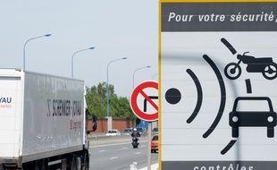Un panneau d'annonce d'un radar sur la rocade de Toulouse. Illustration