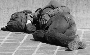 Une personne sans abri. Illustration.