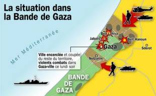 La situation dans la bande de Gaza, le lundi 5 janvier 2009.
