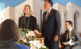 Le Chesnay, le 7 avril 2017. Mitt Romney et sa femme Ann, un couple américain mormon, prêt à se présenter  une deuxième fois aux présidentielles en 2020.
