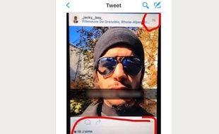 Tweet posté le 14 novembre 2015 identifiant prétendument un des terroristes présumés des attentats de Paris.