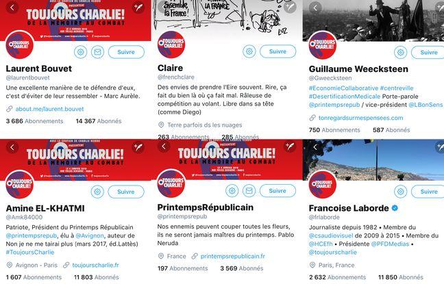 Plusieurs comptes liés au Printemps républicain sur Twitter.