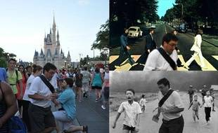 Montage de la photographie originale (G) ayant inspiré le mème «In the way guy», décliné dans diverses scènes historiques (D).