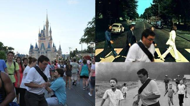Montage de la photographie originale (G) ayant inspiré le mème «In the way guy», décliné dans diverses scènes historiques (D). – Reddit