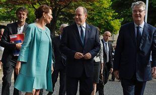 Nicolas Hulot, Ségolène Royal, Albert de Monaco et le président du Cese Jean-Paul Delevoye, lors du sommet des consciences le 21 juillet 2015 à Paris.