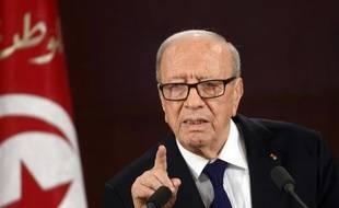 Le président Béji Caïd Essebsi s'adresse aux Tunisiens lors du 59e anniversaire de l'indépendance du pays, le 20 mars 2015, deux jours après l'attentat du Musée du Bardo à Tunis
