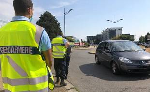 Illustration lors d'un contrôle routier de la gendarmerie de la Haute-Garonne (illustration).