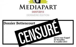 La Une de Mediapart après le jugement de la cour d'appel de Versailles