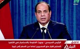 Capture d'écran d'Abdel Fattah al-Sissi lors d'une allocution sur NILE TV le 15 février 2015 au Caire