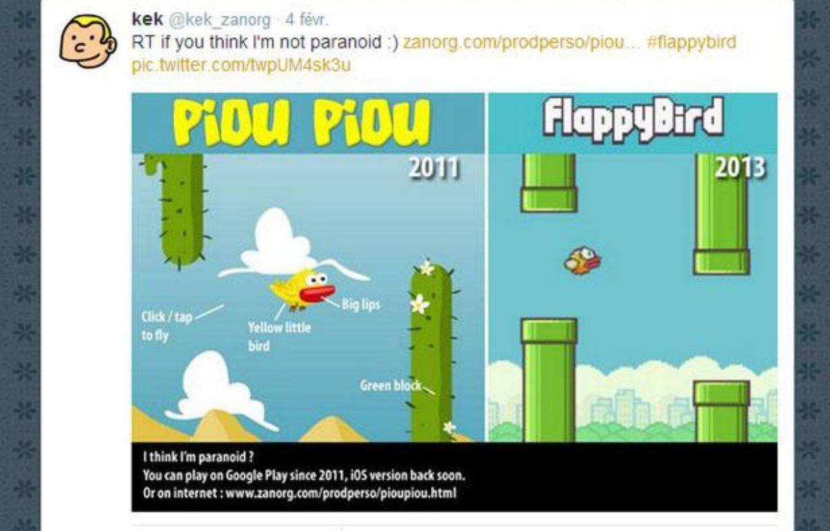 A gauche, le jeu mobile Piou piou contre les cactus, sorti en 2011.A droite, Flappy Bird, sorti en 2013. – CAPTURE D'ECRAN/20MINUTES.FR