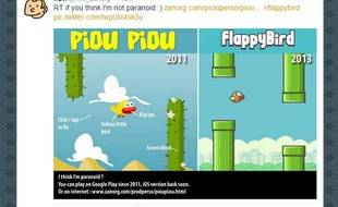 A gauche, le jeu mobile Piou piou contre les cactus, sorti en 2011.A droite, Flappy Bird, sorti en 2013.