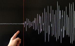 Un technicien montre la courbe d'un sismographe, le 11 mars 2011 à Strasbourg