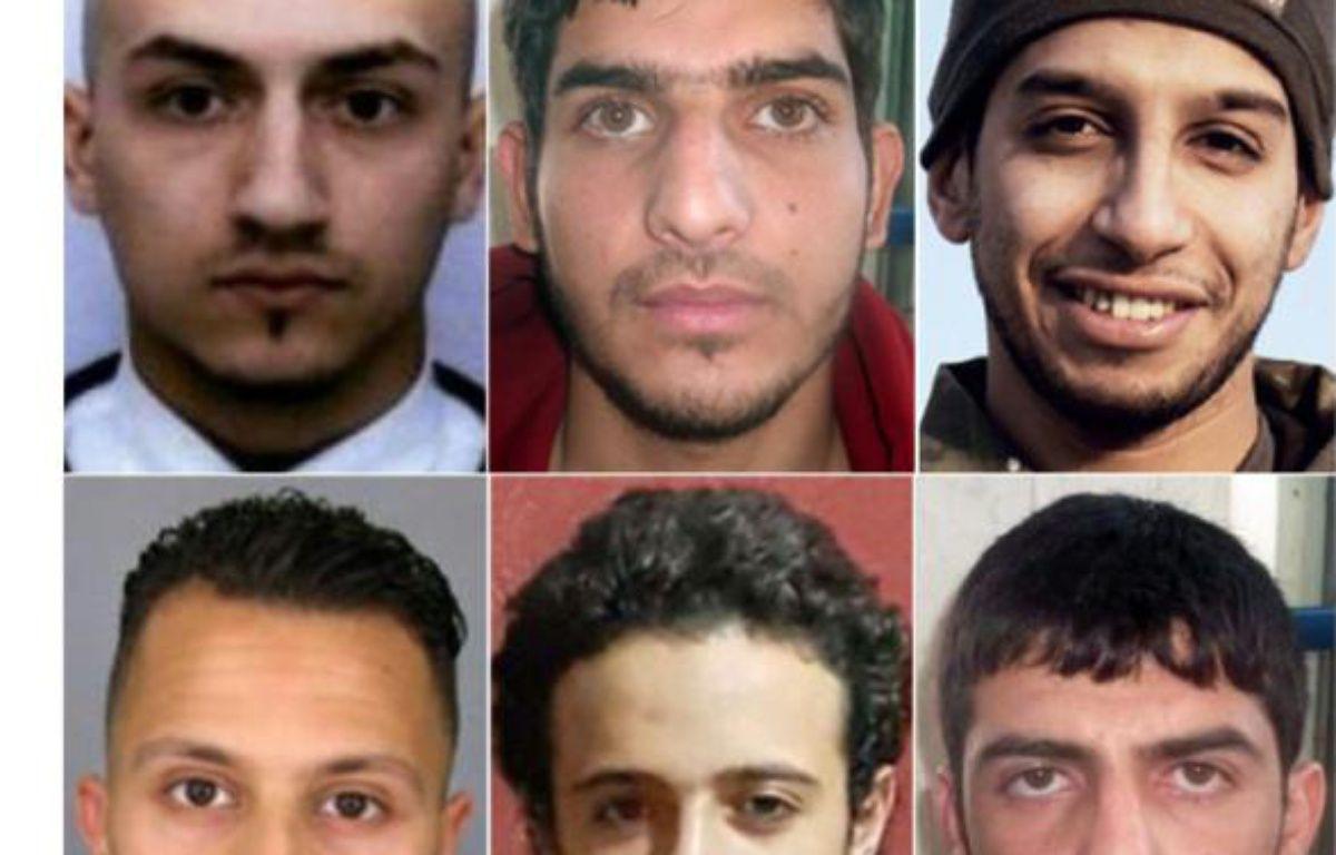 Montage de portraits d'archies des auteurs des attaques du 13 novembre 2015 à Paris, dont Samy Amimour (en haut G) Abdelhamid Abaaoud 5en haut D) Salah Abdeslam (en bas G) et Bilal Hadfi (en bas C) – ANDREJ ISAKOVIC HO