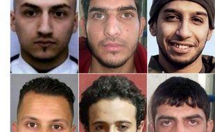 Montage de portraits d'archies des auteurs des attaques du 13 novembre 2015 à Paris, dont Samy Amimour (en haut G) Abdelhamid Abaaoud 5en haut D) Salah Abdeslam (en bas G) et Bilal Hadfi (en bas C)