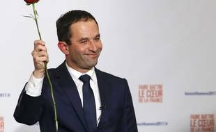 Benoît Hamon, vainqueur de la primaire organisée par le PS et ses alliées, le 29 janvier 2017 à Paris