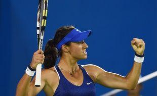 Caroline Garcia la semaine dernière à Wuhan lors de son succès face à Venus Williams.