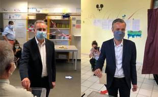 Jean-Luc Moudenc (LR) le maire sortant de Toulouse et son adversaire l'écologiste Antoine Maurice (Archipel citoyen) ont voté ce dimanche matin pour le second tour des municipales.