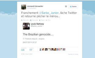 Paris, le 09 juillet 2014. Capture du fil Twitter de Léonard Trierweiler qui s'en prend à Louis Sarkozy.