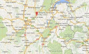 Google map d'Ambérieu-en-Bugey.
