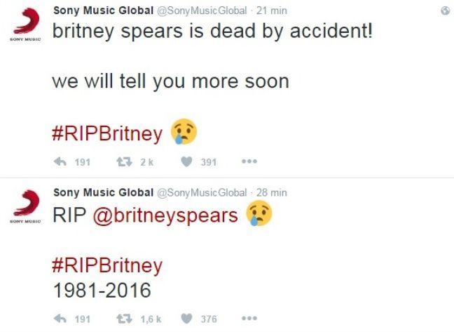 Le compte de Sony Music annonçant la mort de Bitney Spears, mais en fait non.