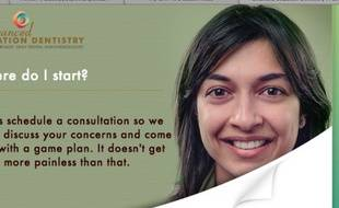 Une publicité pour la sédation dentaire avec le visage de Shubnum Khan.