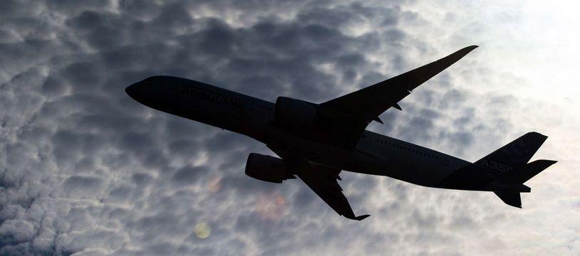 Un avion A350 lors d'une démonstration en vol.