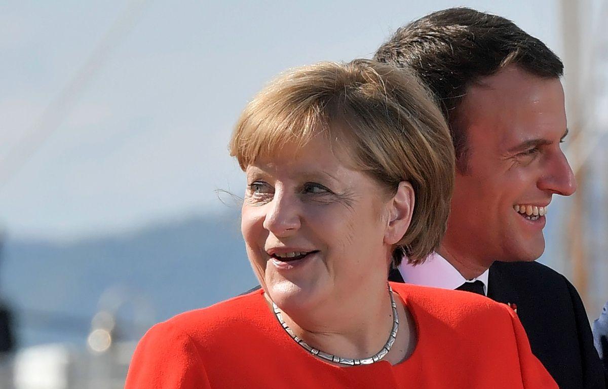 Angela Merkel et Emmanuel Macron lors d'un congrès à Trieste le 12 juillet 2017. – AFP