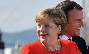 Angela Merkel et Emmanuel Macron lors d'un congrès à Trieste le 12 juillet 2017.