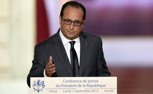 François Hollande lors de sa conférence de presse à L'Elysée, le 7 septembre 2015