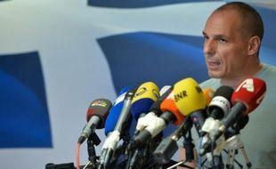 Le Premier ministre grec Yanis Varoufakis lors d'une conférence de presse le 5 juillet 2015 à Athènes