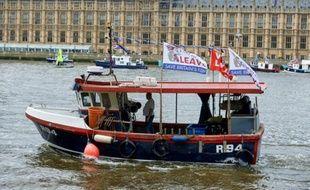 Des bateaux de pêcheurs en faveur du Brexit sur la Tamise à Londres, le 15 juin 2016