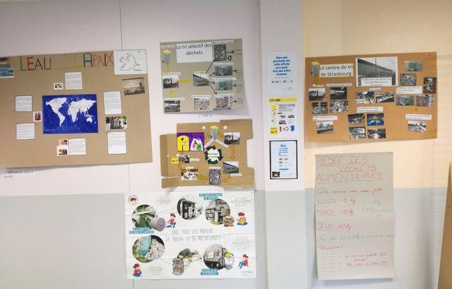 Des panneaux sont affichés aux murs du lycée Henri Ebel en Alsace pour sensibiliser aux économies d'énergie.